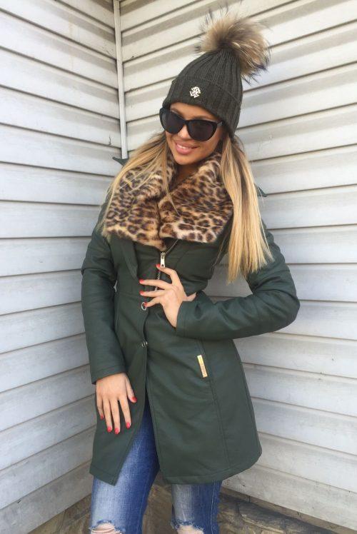 4d68f4679900 Dámska zelená zateplená koženková bunda Foggi s kožušinou – S odporúčame  pre XS