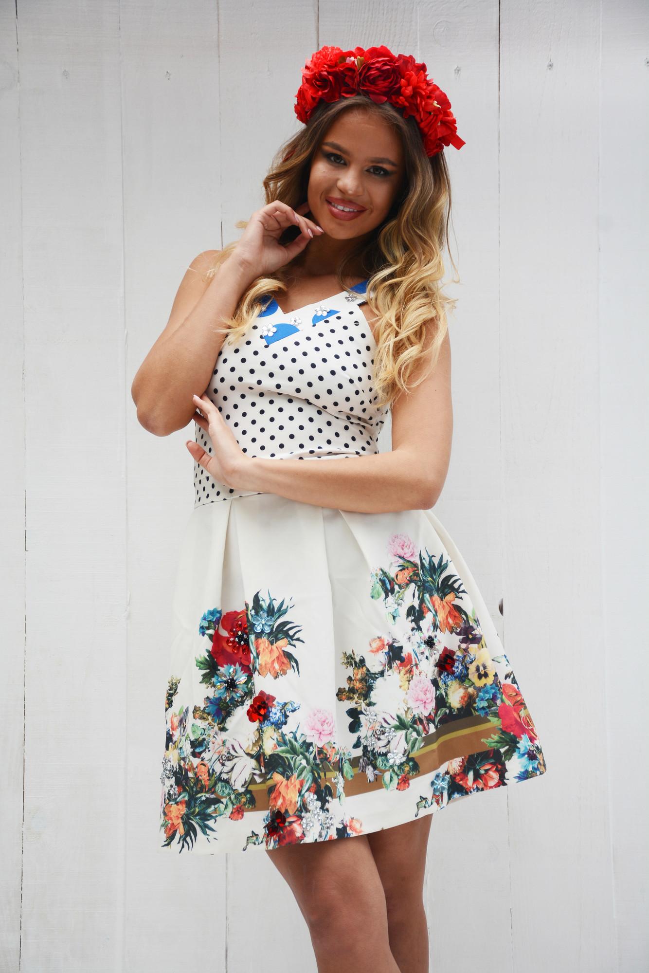 4efd84a7d797 Dámske biele bodkované šaty NI FLOWERS s kryštálmi – 36 odporúčame pre XS