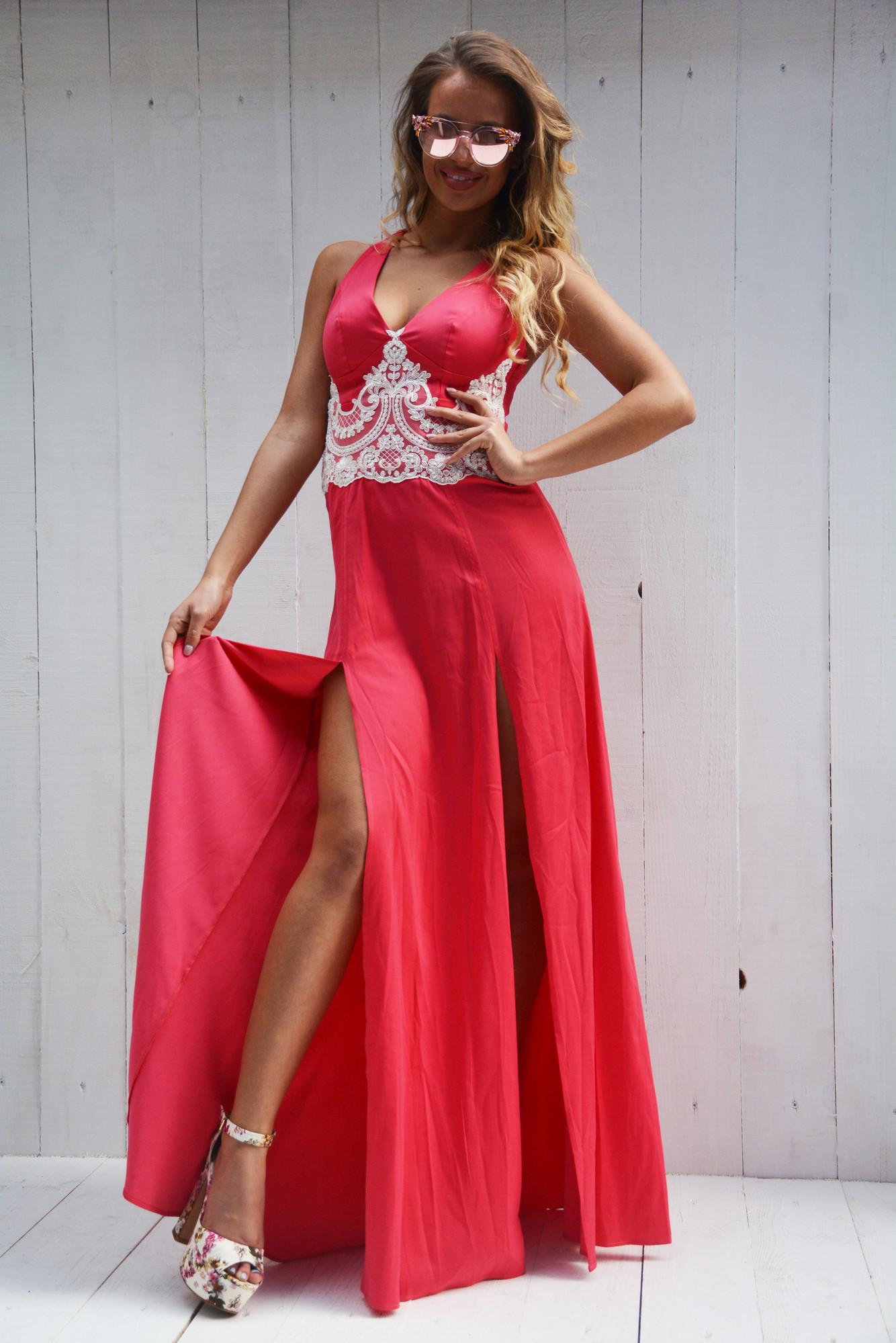204de519fbf4 Dámske dlhé ružové šaty Foggi s čipkou - S odporúčame pre XS ...