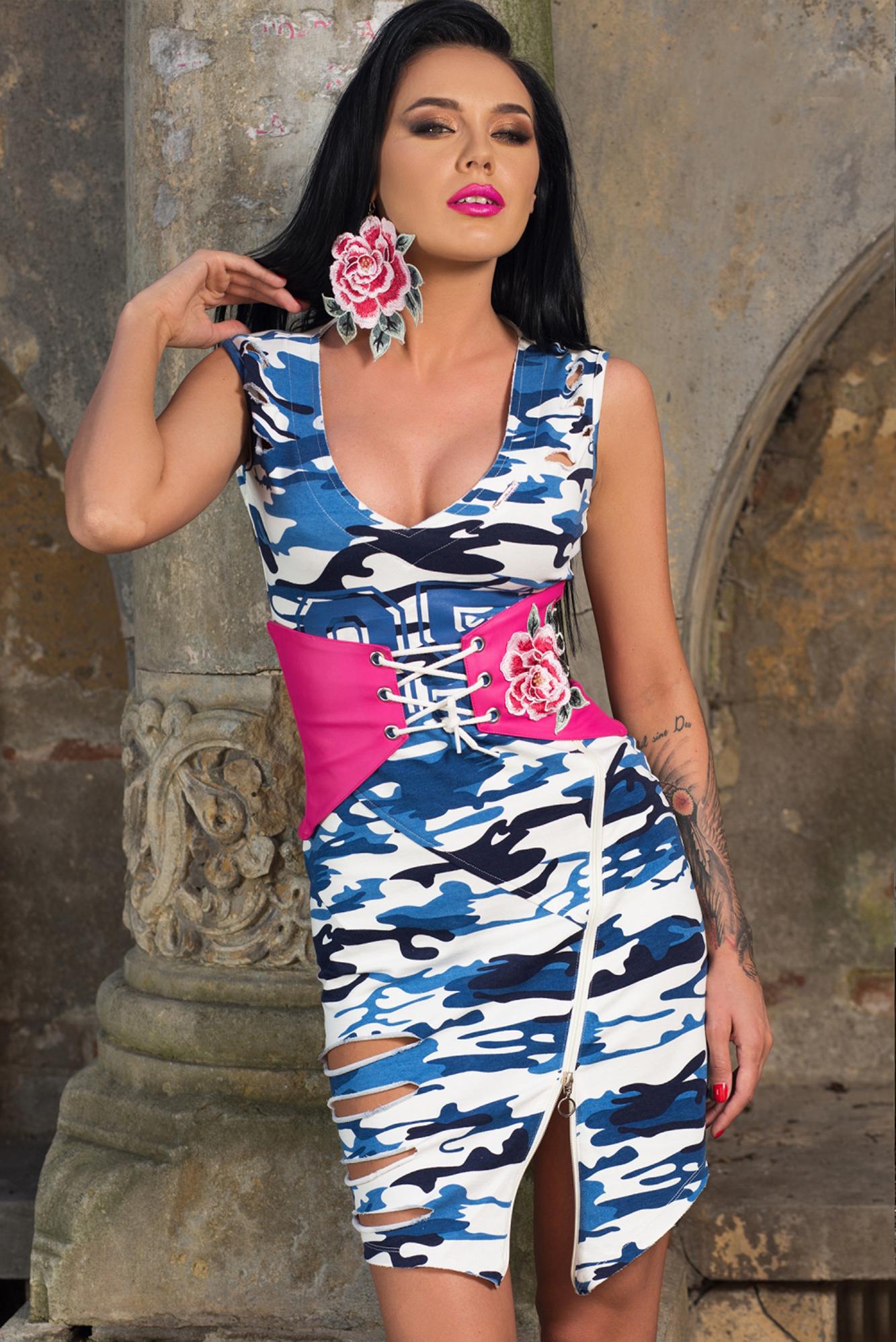 c977a1fed5 Dámske maskáčové šaty Foggi BLUE ARMY - S - BOUTIQUE.SK