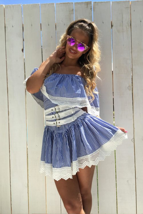 0e513c2cac6f Dámske páskované šaty Foggi s krajkou – S odporúčame pre XS